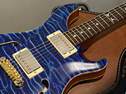 "PS#1443 Hollowbody II 1P Quilt Top & Back ""Kissing hummingbird inlays"" - Faded Aquamarine -"